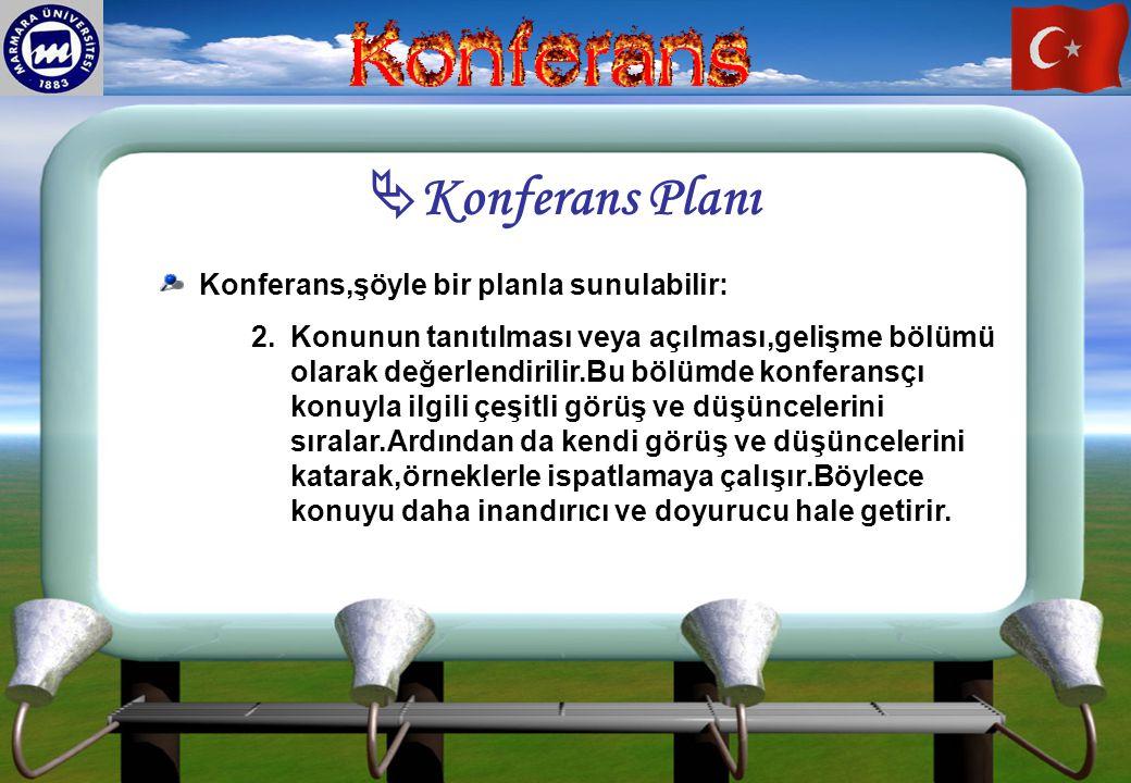  Konferans Planı Konferans,şöyle bir planla sunulabilir: 2. 2.Konunun tanıtılması veya açılması,gelişme bölümü olarak değerlendirilir.Bu bölümde konf