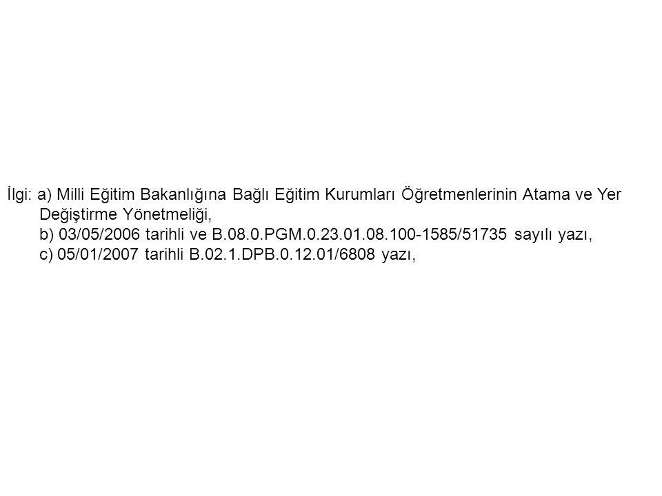 İlgi: a) Milli Eğitim Bakanlığına Bağlı Eğitim Kurumları Öğretmenlerinin Atama ve Yer Değiştirme Yönetmeliği, b) 03/05/2006 tarihli ve B.08.0.PGM.0.23
