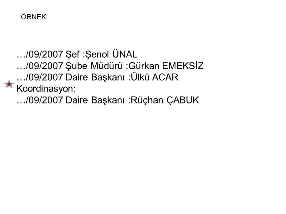…/09/2007 Şef :Şenol ÜNAL …/09/2007 Şube Müdürü :Gürkan EMEKSİZ …/09/2007 Daire Başkanı :Ülkü ACAR Koordinasyon: …/09/2007 Daire Başkanı :Rüçhan ÇABUK