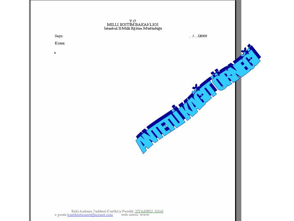 Konumu ve Şekli: *Başlık, kağıdın yazı alanının üst kısmına ortalanarak yazılır.