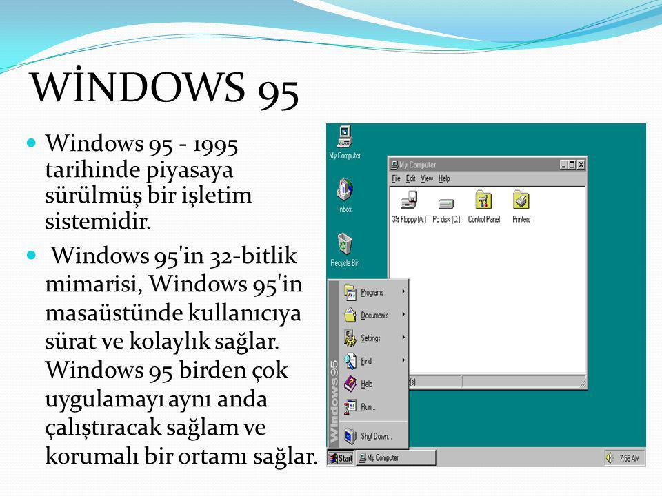 WİNDOWS 95 Windows 95 - 1995 tarihinde piyasaya sürülmüş bir işletim sistemidir.