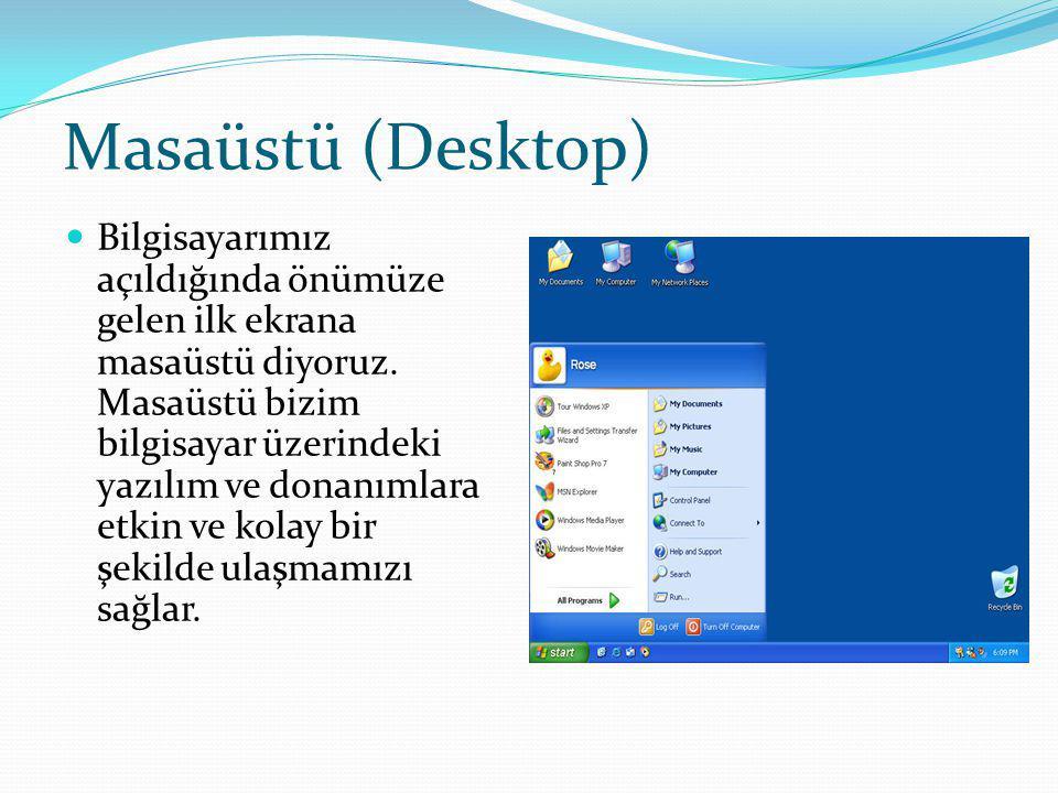 Masaüstü (Desktop) Bilgisayarımız açıldığında önümüze gelen ilk ekrana masaüstü diyoruz.