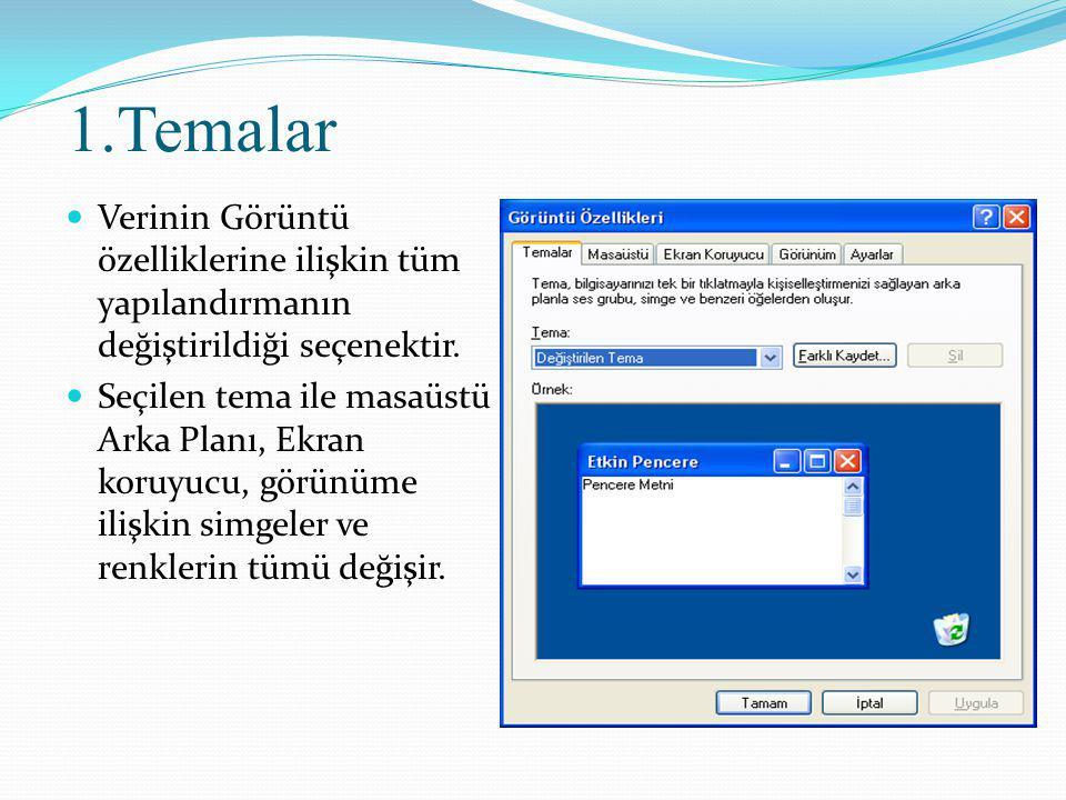 1.Temalar Verinin Görüntü özelliklerine ilişkin tüm yapılandırmanın değiştirildiği seçenektir.