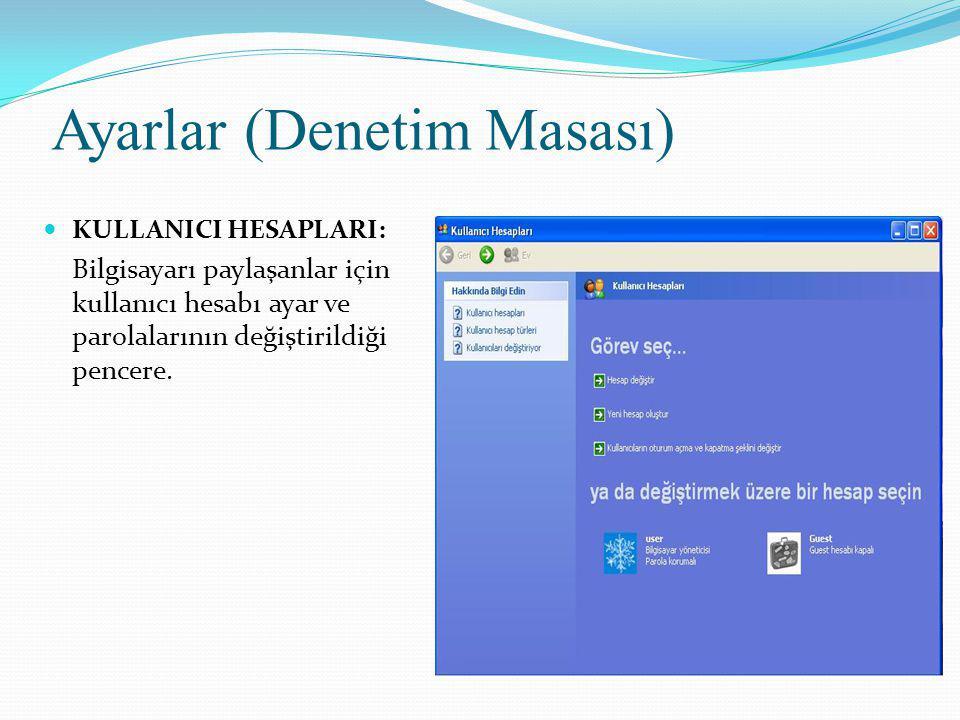 Ayarlar (Denetim Masası) KULLANICI HESAPLARI: Bilgisayarı paylaşanlar için kullanıcı hesabı ayar ve parolalarının değiştirildiği pencere.