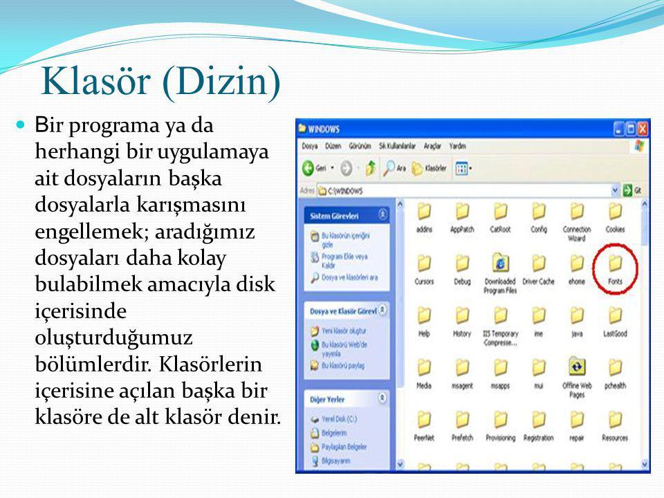 Klasör (Dizin) B ir programa ya da herhangi bir uygulamaya ait dosyaların başka dosyalarla karışmasını engellemek; aradığımız dosyaları daha kolay bulabilmek amacıyla disk içerisinde oluşturduğumuz bölümlerdir.