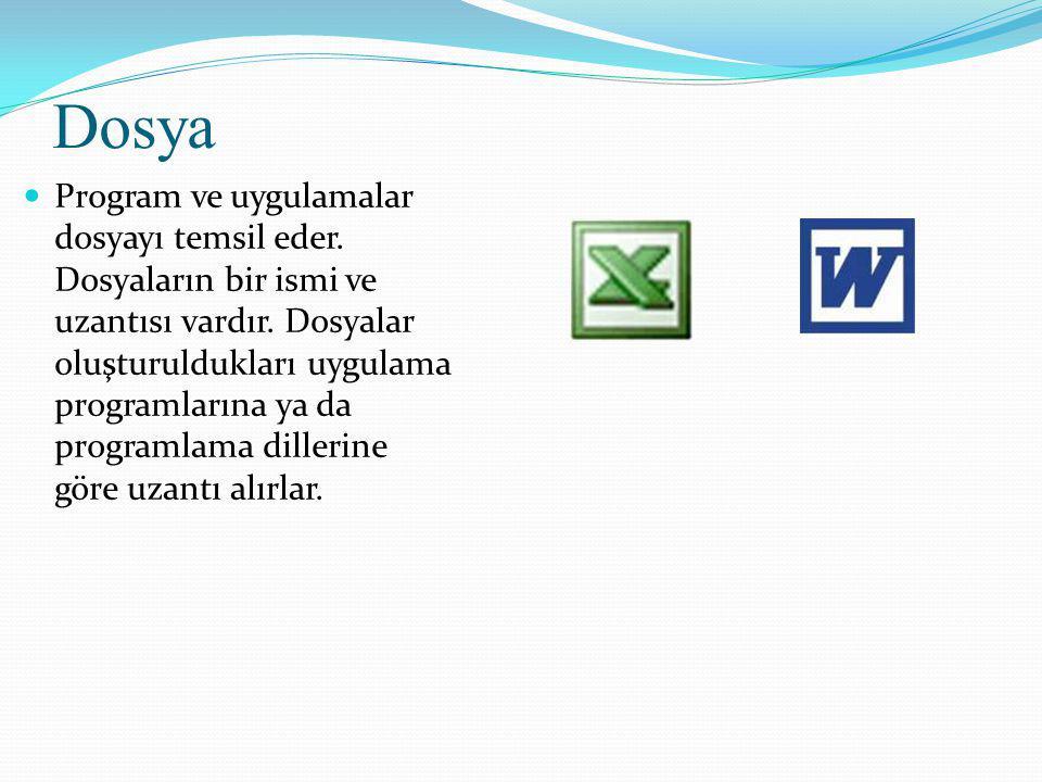Dosya Program ve uygulamalar dosyayı temsil eder. Dosyaların bir ismi ve uzantısı vardır.