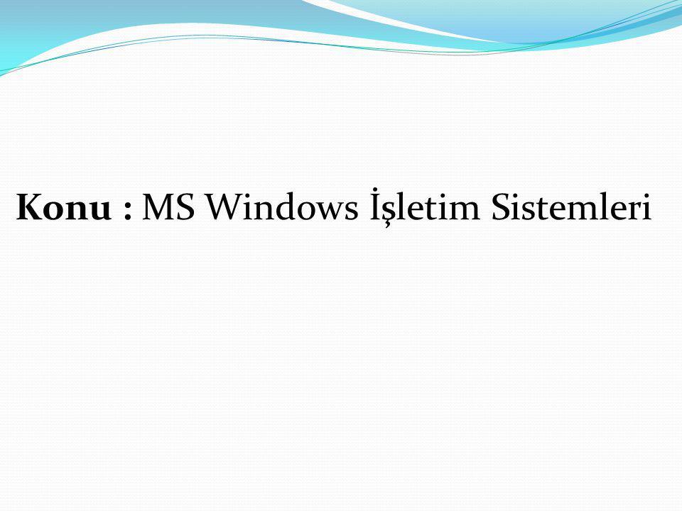Windows İşletim Sistemleri MS D OS WİNDOWS 3.1 WİNDOWS 3.11 WİNDOWS 95 WİNDOWS 98 WİNDOWS ME (Millennium Edition) WİNDOWS 2000 WİNDOWS XP WİNDOWS VİSTA WİNDOWOS NT