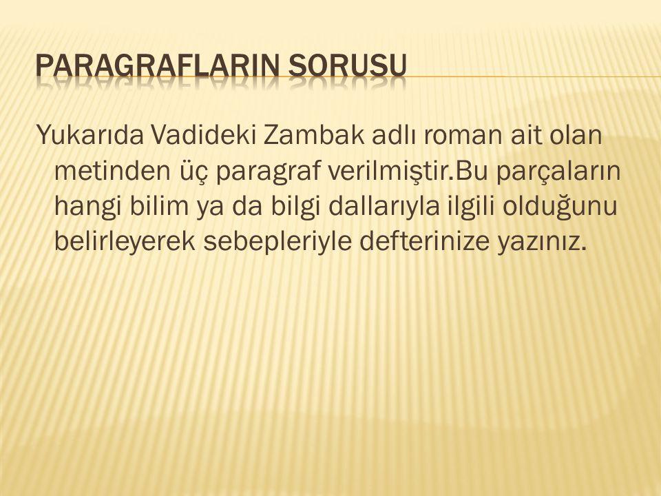 Yukarıda Vadideki Zambak adlı roman ait olan metinden üç paragraf verilmiştir.Bu parçaların hangi bilim ya da bilgi dallarıyla ilgili olduğunu belirle
