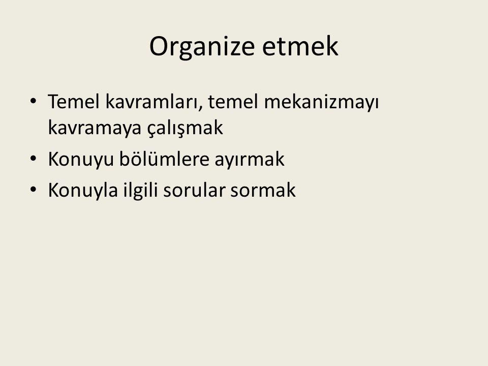 Organize etmek Temel kavramları, temel mekanizmayı kavramaya çalışmak Konuyu bölümlere ayırmak Konuyla ilgili sorular sormak