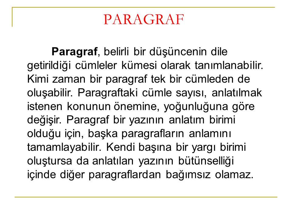 PARAGRAF Paragraf, belirli bir düşüncenin dile getirildiği cümleler kümesi olarak tanımlanabilir. Kimi zaman bir paragraf tek bir cümleden de oluşabil