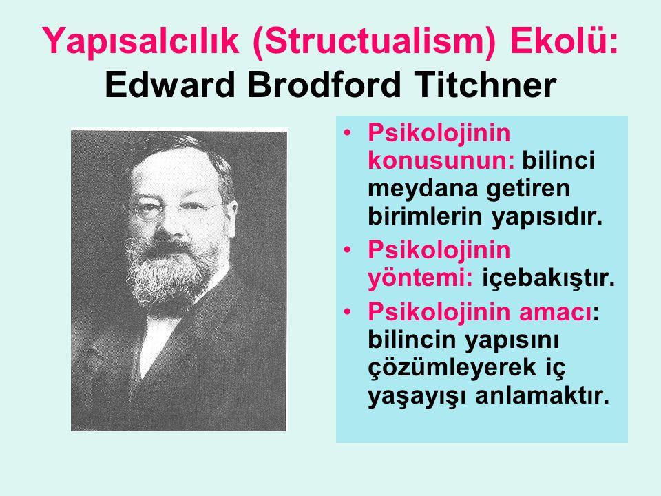 Yapısalcılık (Structualism) Ekolü: Edward Brodford Titchner Psikolojinin konusunun: bilinci meydana getiren birimlerin yapısıdır. Psikolojinin yöntemi