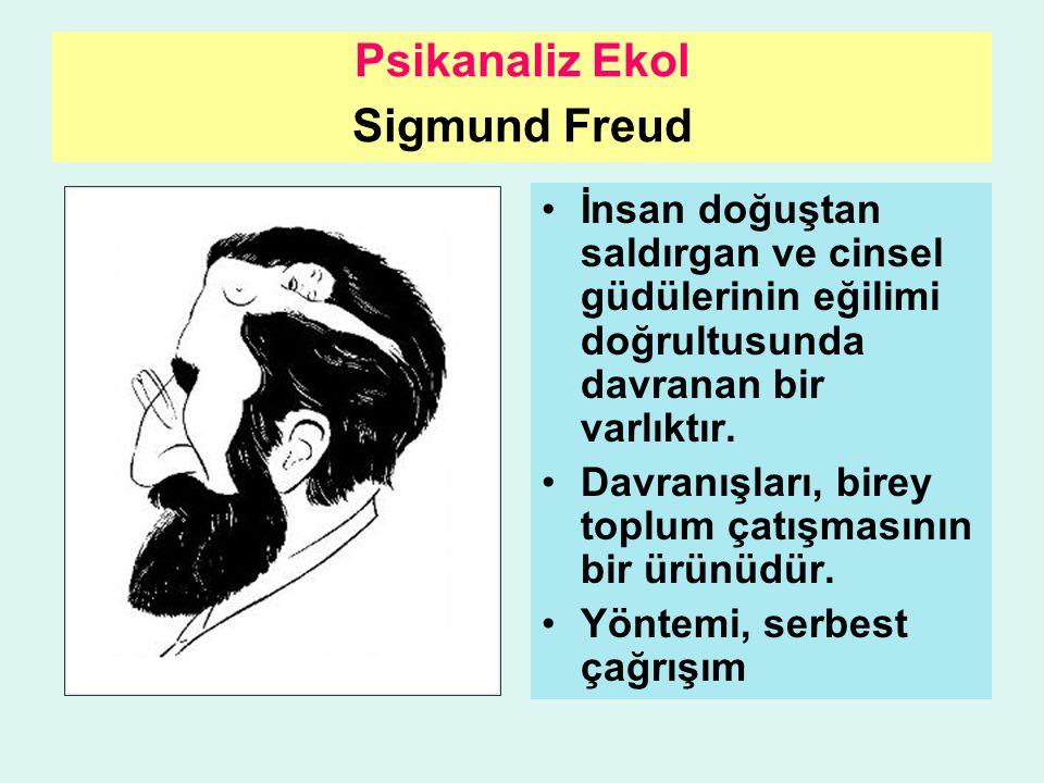 Psikanaliz Ekol Sigmund Freud İnsan doğuştan saldırgan ve cinsel güdülerinin eğilimi doğrultusunda davranan bir varlıktır. Davranışları, birey toplum