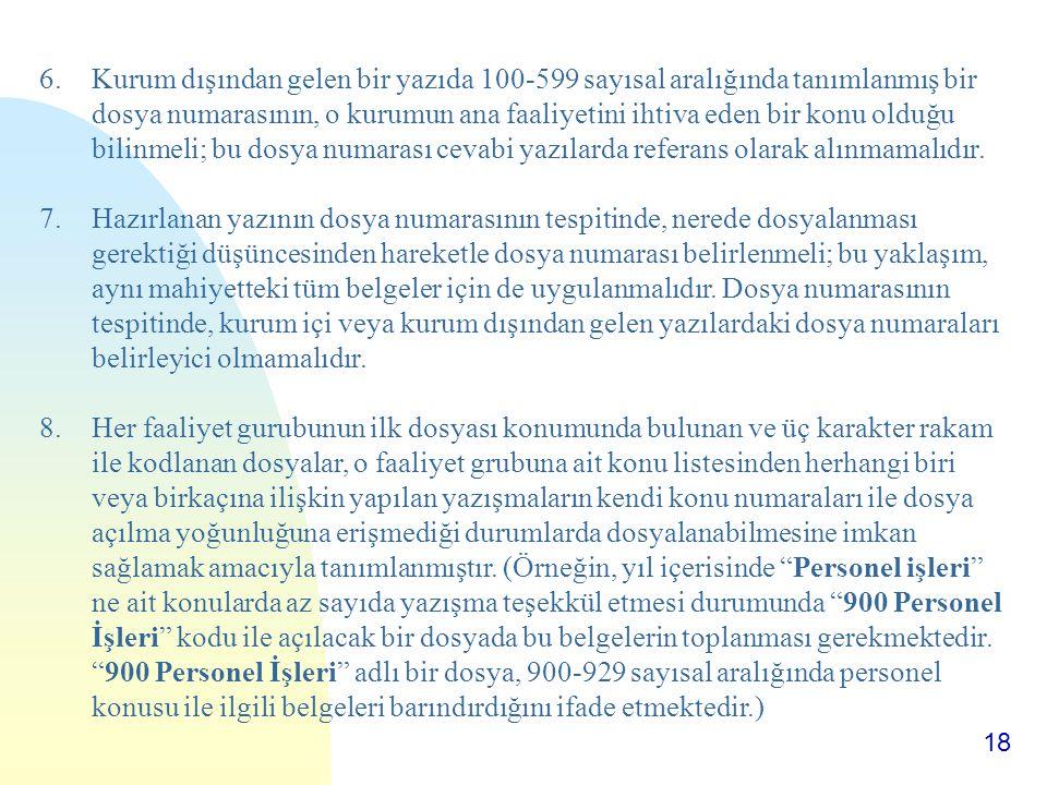 18 6.Kurum dışından gelen bir yazıda 100-599 sayısal aralığında tanımlanmış bir dosya numarasının, o kurumun ana faaliyetini ihtiva eden bir konu oldu