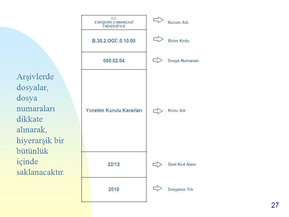 27 T.C ESKİŞEHİR OSMANGAZİ ÜNİVERSİTESİ Kurum Adı B.30.2.OGÜ.0.10.00 Birim Kodu 050.02.04 Dosya Numarası Yönetim Kurulu Kararları Konu Adı 22/12 Özel