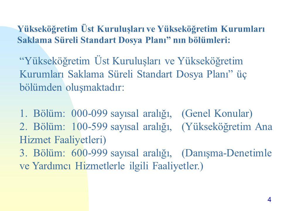 """4 """"Yükseköğretim Üst Kuruluşları ve Yükseköğretim Kurumları Saklama Süreli Standart Dosya Planı"""" üç bölümden oluşmaktadır: 1. Bölüm: 000-099 sayısal a"""