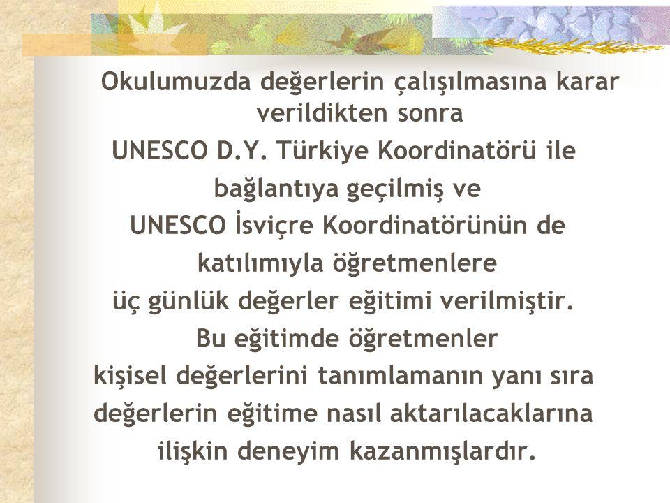 Okulumuzda değerlerin çalışılmasına karar verildikten sonra UNESCO D.Y. Türkiye Koordinatörü ile bağlantıya geçilmiş ve UNESCO İsviçre Koordinatörünün
