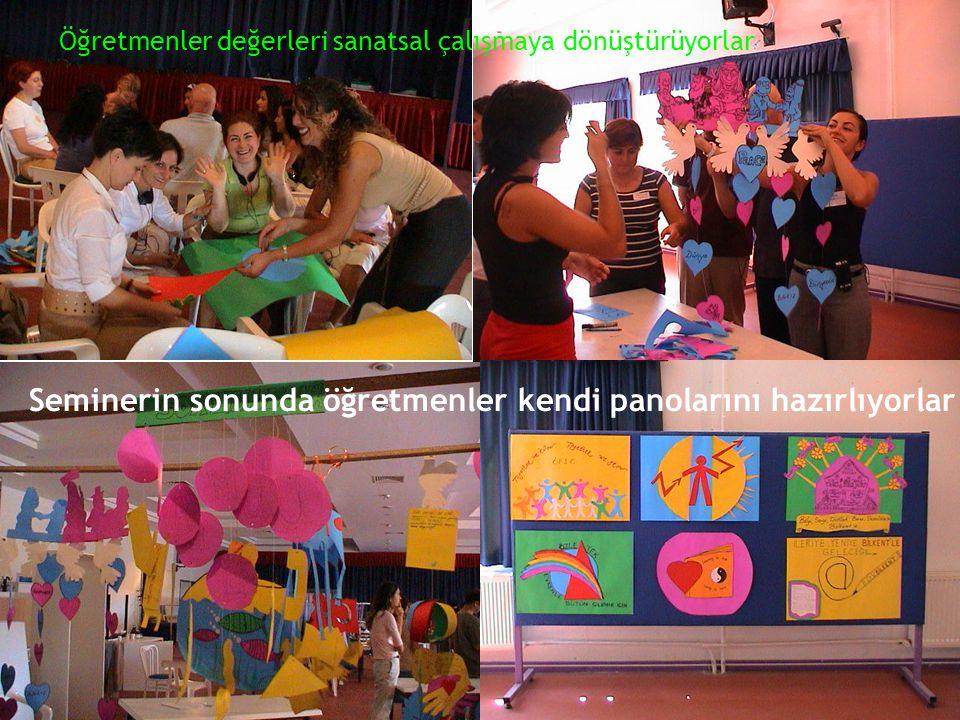 Seminerin sonunda öğretmenler kendi panolarını hazırlıyorlar Öğretmenler değerleri sanatsal çalışmaya dönüştürüyorlar