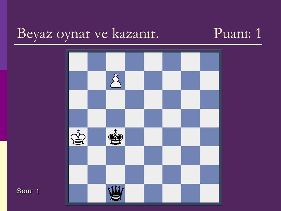 Beyaz oynar ve kazanır. Puanı: 1 Soru: 1