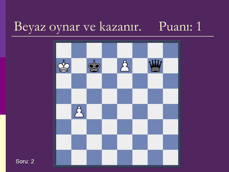 Beyaz oynar ve kazanır. Puanı: 1 Soru: 2