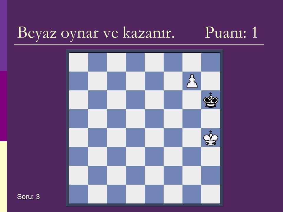 Beyaz oynar ve kazanır. Puanı: 1 Soru: 3