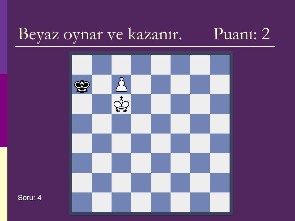 Beyaz oynar ve kazanır. Puanı: 2 Soru: 4