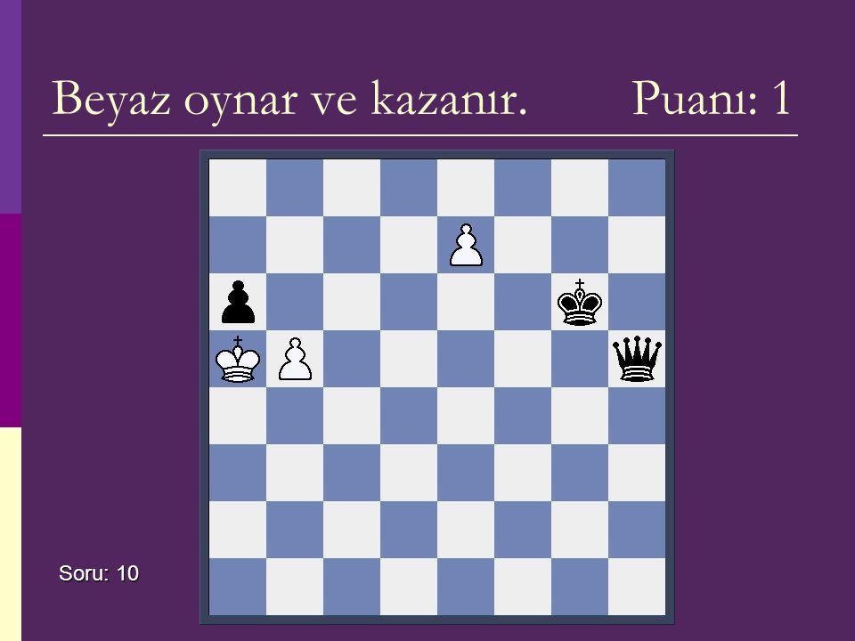 Beyaz oynar ve kazanır. Puanı: 1 Soru: 10