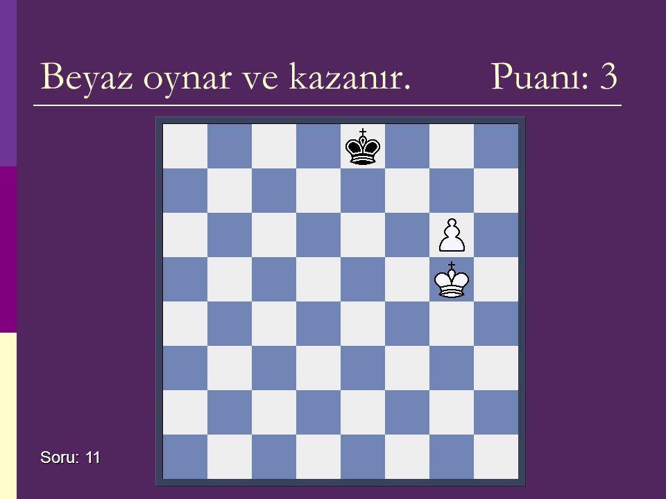 Beyaz oynar ve kazanır. Puanı: 3 Soru: 11