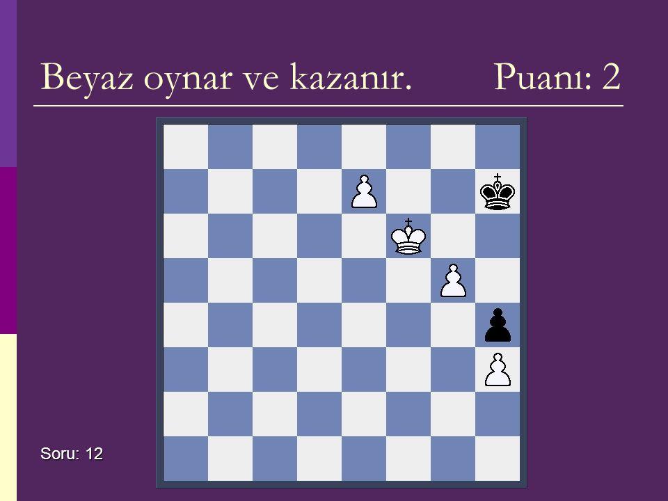 Beyaz oynar ve kazanır. Puanı: 2 Soru: 12