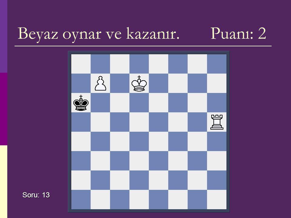 Beyaz oynar ve kazanır. Puanı: 2 Soru: 13