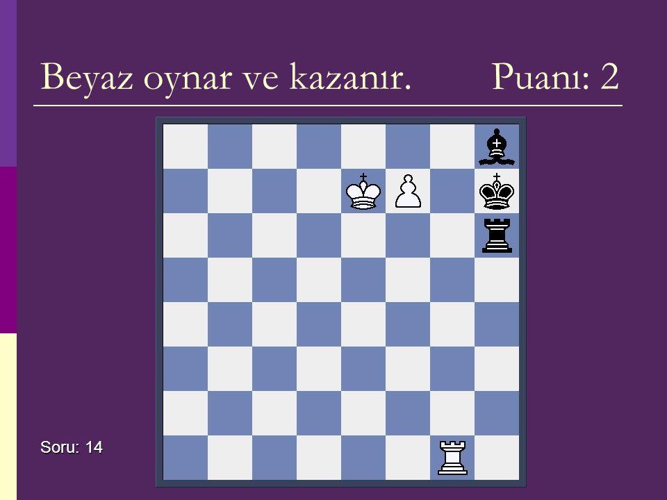 Beyaz oynar ve kazanır. Puanı: 2 Soru: 14