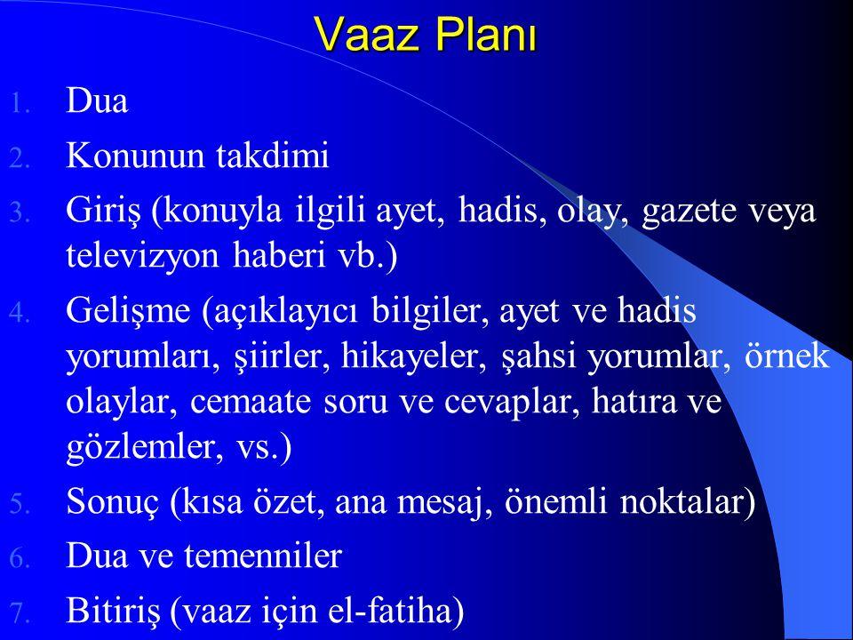 Vaaz Planı 1. Dua 2. Konunun takdimi 3. Giriş (konuyla ilgili ayet, hadis, olay, gazete veya televizyon haberi vb.) 4. Gelişme (açıklayıcı bilgiler, a
