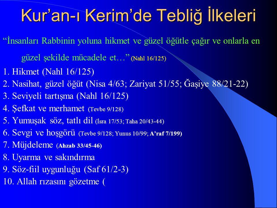 """Kur'an-ı Kerim'de Tebliğ İlkeleri """"İnsanları Rabbinin yoluna hikmet ve güzel öğütle çağır ve onlarla en güzel şekilde mücadele et…"""" (Nahl 16/125) 1. H"""