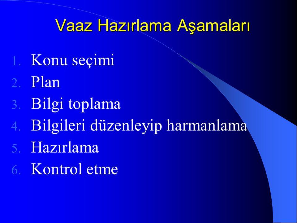 Vaaz Hazırlama Aşamaları 1. Konu seçimi 2. Plan 3. Bilgi toplama 4. Bilgileri düzenleyip harmanlama 5. Hazırlama 6. Kontrol etme