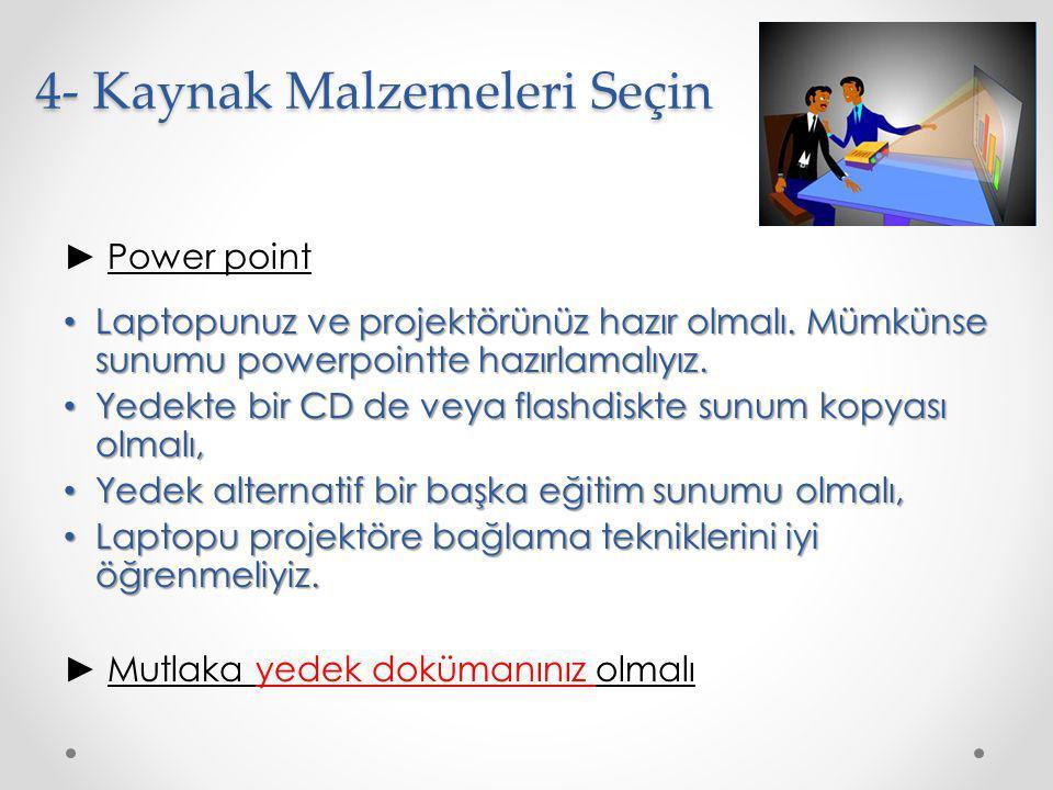 4- Kaynak Malzemeleri Seçin ► Power point Laptopunuz ve projektörünüz hazır olmalı. Mümkünse sunumu powerpointte hazırlamalıyız. Laptopunuz ve projekt