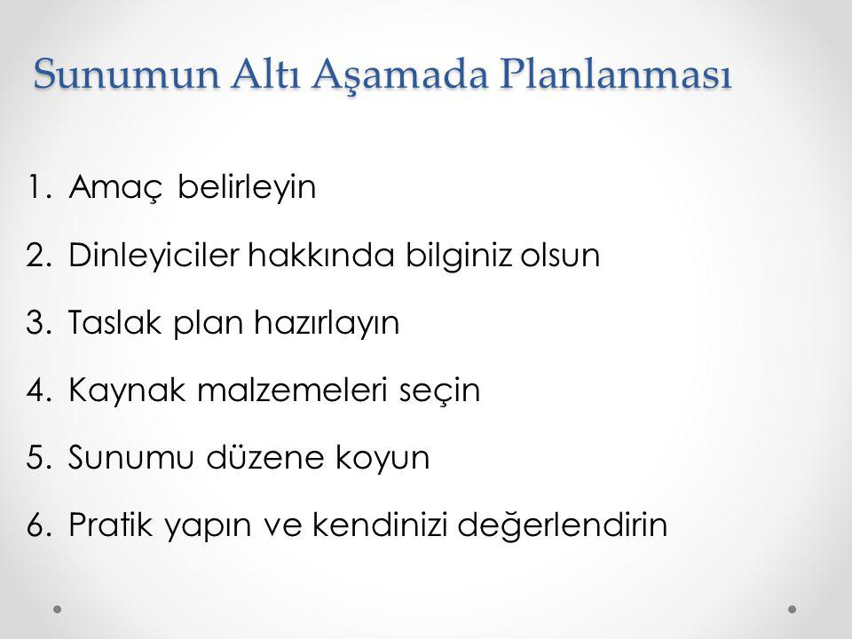 Sunumun Altı Aşamada Planlanması 1.Amaç belirleyin 2.Dinleyiciler hakkında bilginiz olsun 3.Taslak plan hazırlayın 4.Kaynak malzemeleri seçin 5.Sunumu