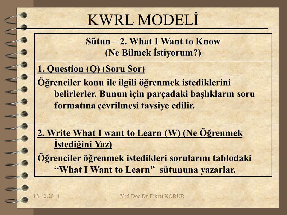 18.12.2014Yrd.Doç.Dr.Fikret KORUR KWRL MODELİ Sütun – 2.
