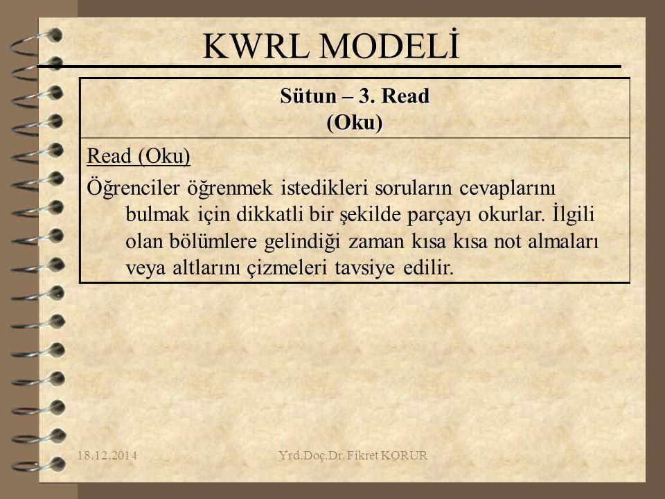 18.12.2014Yrd.Doç.Dr.Fikret KORUR KWRL MODELİ Sütun – 3.