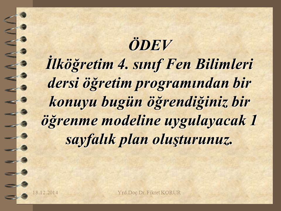 18.12.2014Yrd.Doç.Dr.Fikret KORUR ÖDEV İlköğretim 4.