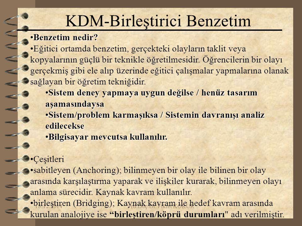 18.12.2014Yrd.Doç.Dr. Fikret KORUR KDM-Birleştirici Benzetim