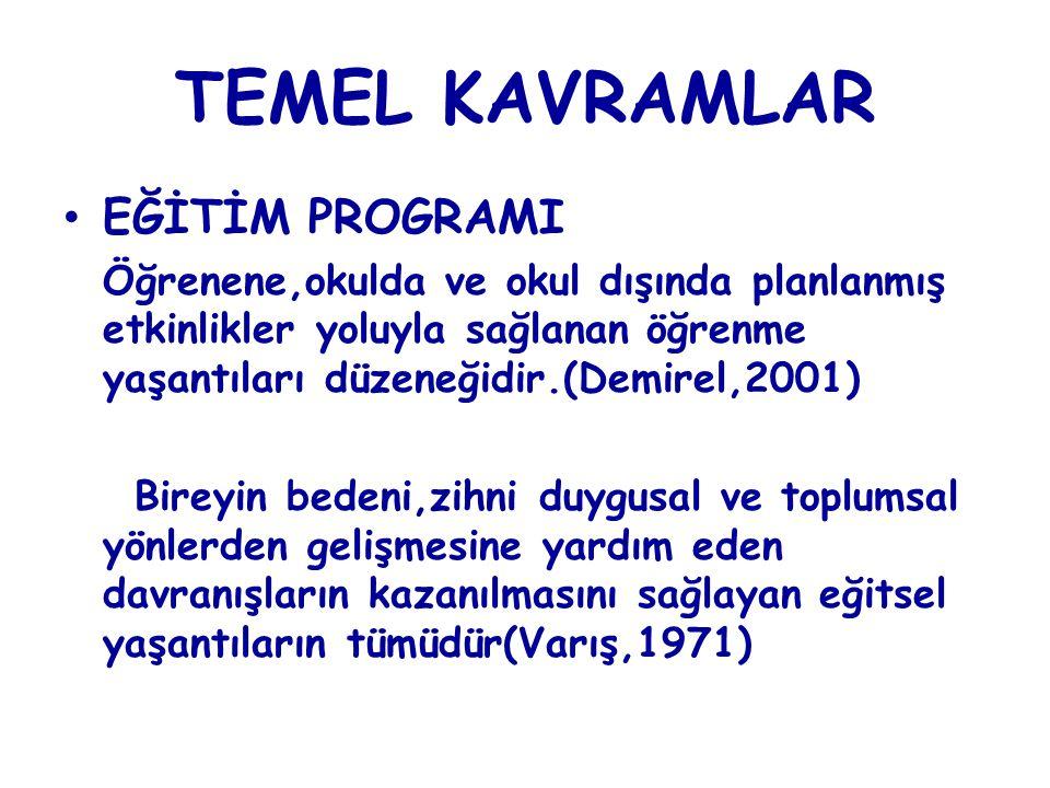 TEMEL KAVRAMLAR EĞİTİM PROGRAMI Öğrenene,okulda ve okul dışında planlanmış etkinlikler yoluyla sağlanan öğrenme yaşantıları düzeneğidir.(Demirel,2001)