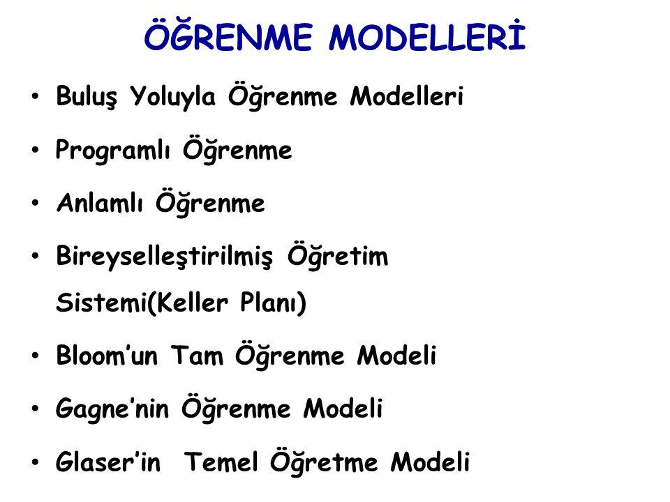 ÖĞRENME MODELLERİ Buluş Yoluyla Öğrenme Modelleri Programlı Öğrenme Anlamlı Öğrenme Bireyselleştirilmiş Öğretim Sistemi(Keller Planı) Bloom'un Tam Öğr