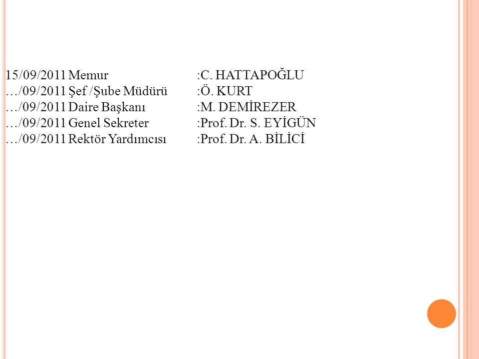 15/09/2011 Memur :C. HATTAPOĞLU …/09/2011 Şef /Şube Müdürü:Ö. KURT …/09/2011 Daire Başkanı:M. DEMİREZER …/09/2011 Genel Sekreter :Prof. Dr. S. EYİGÜN