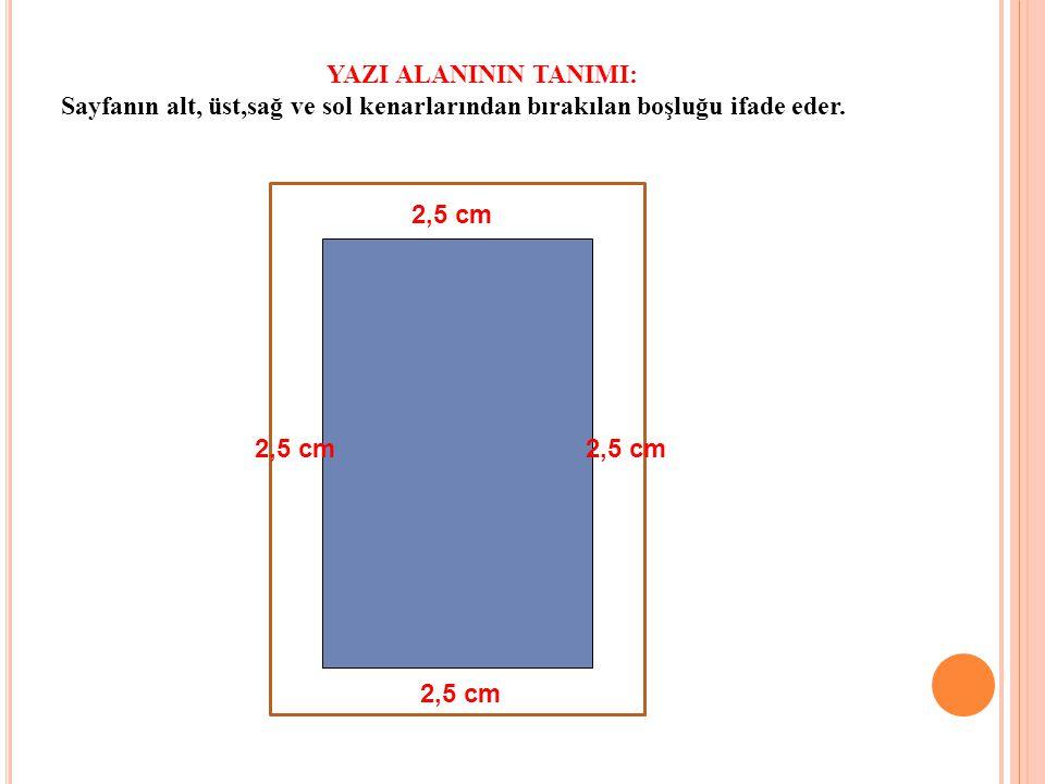 2,5 cm YAZI ALANININ TANIMI: Sayfanın alt, üst,sağ ve sol kenarlarından bırakılan boşluğu ifade eder.