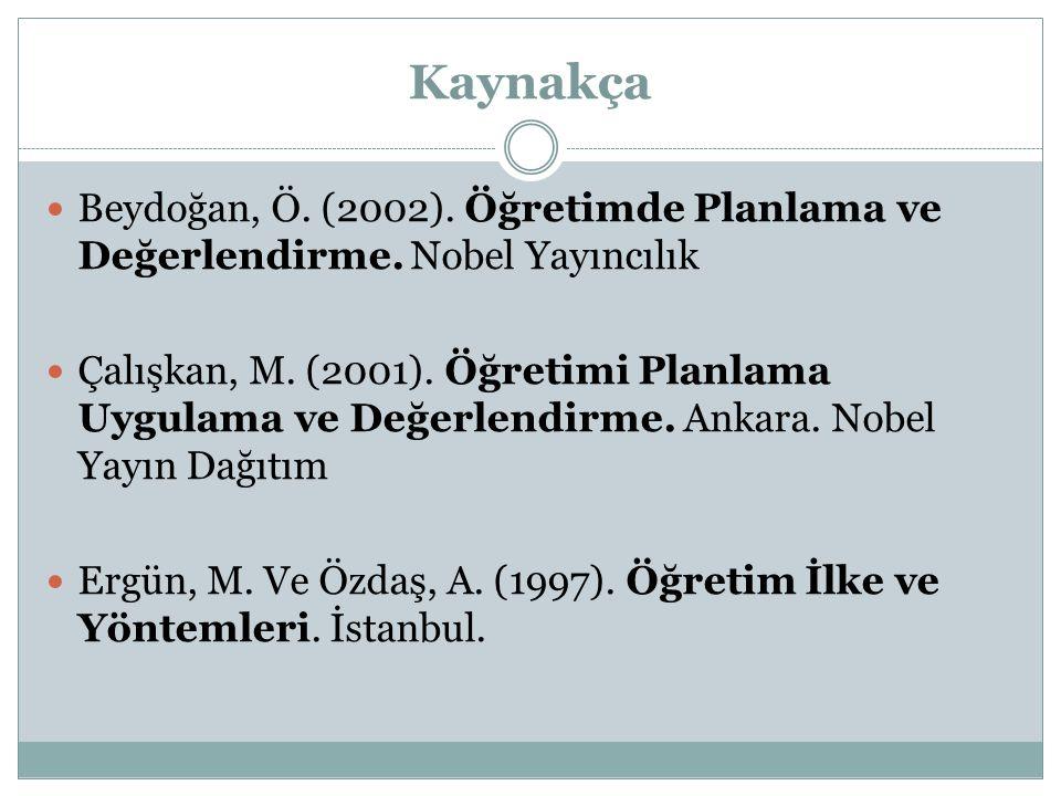 Kaynakça Yalın, H.(2004). Öğretim Teknolojileri ve Materyal Geliştirme.