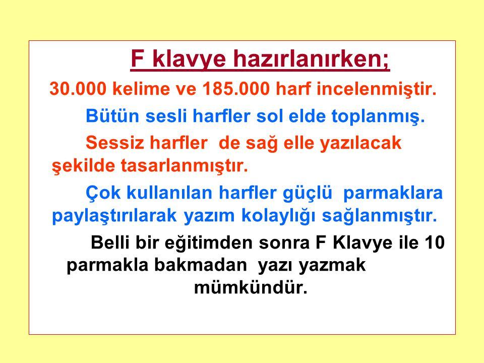 Milli Eğitim Bakanlığının 2003/20 sayılı Genelgeleri doğrultusunda F klavye kullanma mecburiyeti getirilmiştir. Her türlü resmi yazı Standart Türk Kla