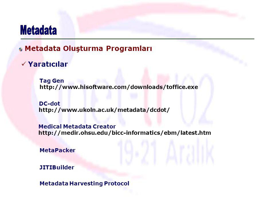 Metadata Oluşturma Programları Yaratıcılar Tag Gen http://www.hisoftware.com/downloads/toffice.exe MetaPacker JITIBuilder DC-dot http://www.ukoln.ac.u