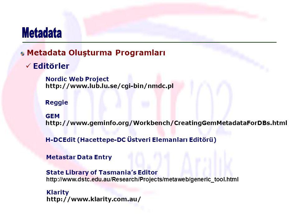 Editörler Nordic Web Project http://www.lub.lu.se/cgi-bin/nmdc.pl Reggie GEM http://www.geminfo.org/Workbench/CreatingGemMetadataForDBs.html Metastar