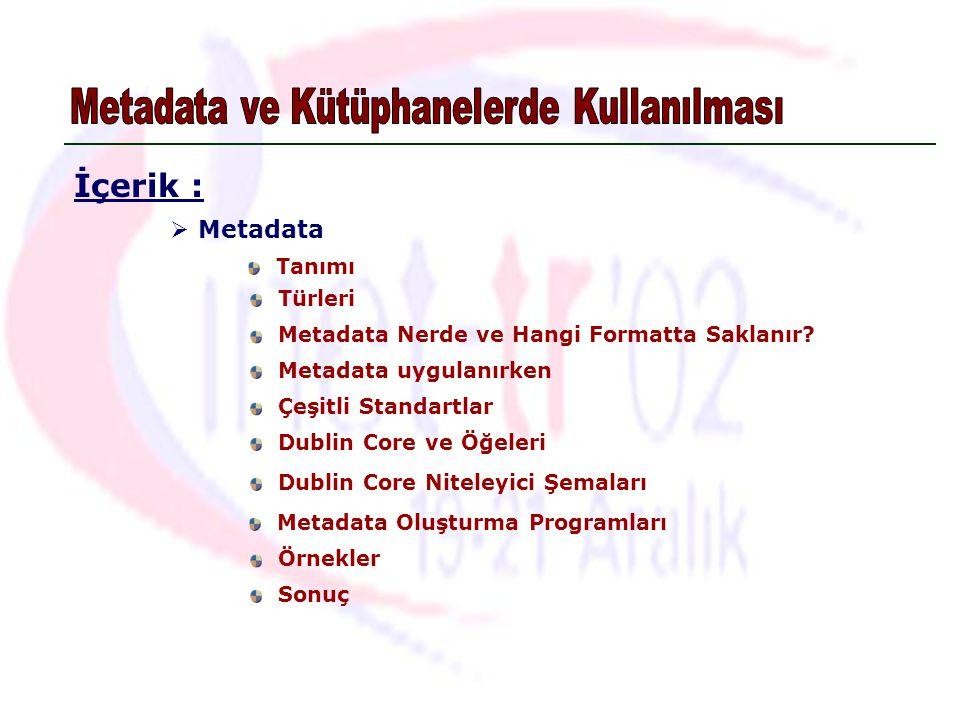 Tanımı  Metadata Türleri Çeşitli Standartlar Metadata Oluşturma Programları Dublin Core ve Öğeleri Örnekler İçerik : Metadata Nerde ve Hangi Formatta