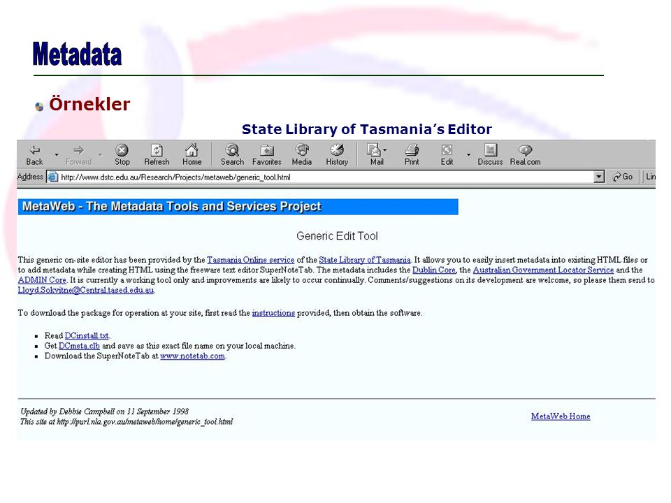 State Library of Tasmania's Editor Örnekler