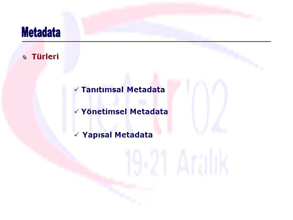 Türleri Tanıtımsal Metadata Yönetimsel Metadata Yapısal Metadata